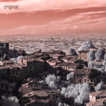 Montalchino Italy aerial photo, infrared photography, drone photography, aerial city, Austin photographer, orange and white landscape
