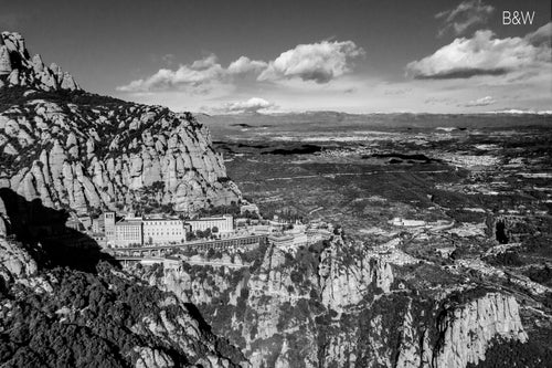 Montserrat aerial photo, infrared photography, drone photography, aerial city, Austin photographer, black and white European landscape