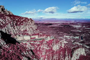 Montserrat aerial photo, infrared photography, drone photography, aerial city, Austin photographer, pink and blue landscape