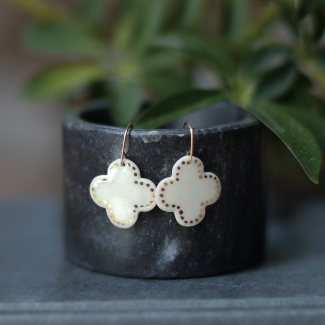 moroccan tile earrings with gold accents