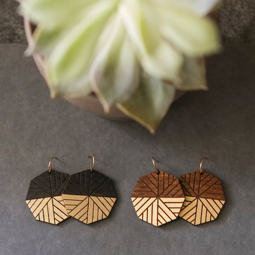 wood octagon earrings with bottom gold accent