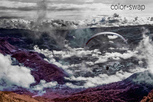 parasail aerial photo, cloud and mountain landscape, infrared photography, drone photography, Austin photographer