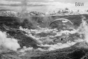 parasail aerial photo, cloud and mountain landscape, infrared photography, drone photography, Austin photographer, black and white overhead
