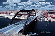 Pennybacker Bridge Austin aerial photo, 360 Bridge infrared photography, drone photography, pink and blue aerial city, Austin photographer
