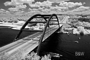 Pennybacker Bridge Austin aerial photo, 360 Bridge infrared photography, drone photography, black and white aerial city, Austin photographer