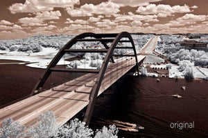 Pennybacker Bridge Austin aerial photo, 360 Bridge infrared photography, drone photography, orange and brown aerial city, Austin photographer, hook em horns photography
