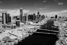 Austin aerial photo, infrared photography, drone photography, aerial city, Austin black and white landscape