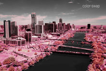 Austin aerial photo, infrared photography, drone photography, aerial city, Austin pink landscape