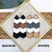 wood and porcelain chevron earrings
