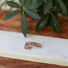 gold lines rectangle earrings