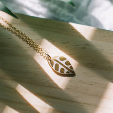 leaf necklace with gold detail
