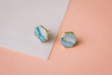 granite teal and white studs with gold accent, marbled geometric earrings, gold filigree jewelry, Austin jewelry, porcelain wearable art, social impact jewelry, ethical accessory