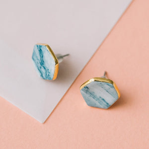 granite blue and white studs with gold accent, marbled geometric earrings, gold filigree jewelry, Austin jewelry, porcelain wearable art, social impact jewelry, ethical accessory