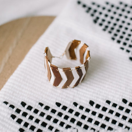 brown leather and white porcelain chevron bracelet, Austin jewelry, porcelain wearable art, social impact jewelry, ethical accessory, brown leather cuff