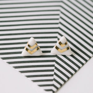 triangle white porcelain studs with gold or white-gold accent, gold filigree jewelry, white and gold, Austin jewelry, porcelain wearable art, social impact jewelry, ethical accessory
