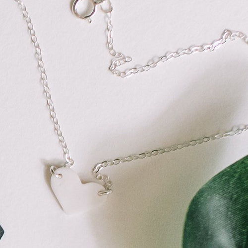 signature heart necklace with silver chain