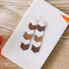 leather and porcelain chevron earrings