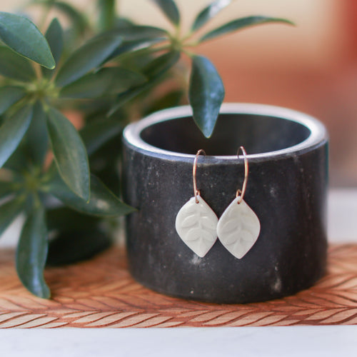 small water etched leaf earrings