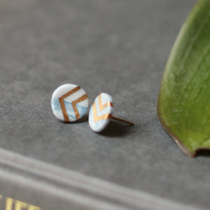 granite - teal studs with gold chevron
