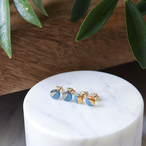 tiny teal dot studs