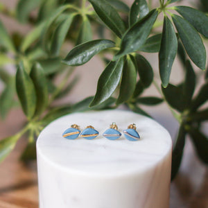 tiny teal leaf studs