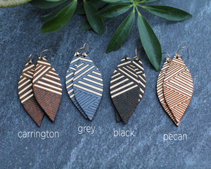 wood leaf earrings - gold lines