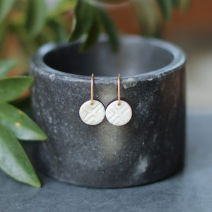 round water-etched earrings