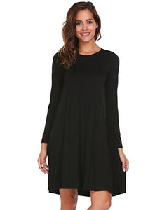 ELESOL Women's Long Sleeve Back Keyhole Solid Casual Loose Tunic Shirt Dress