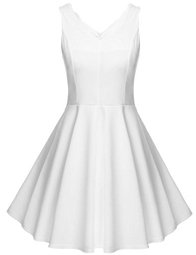 ELESOL Womens A-Line Sleeveless V-Neck Low Back Swing Cocktail Party Dress