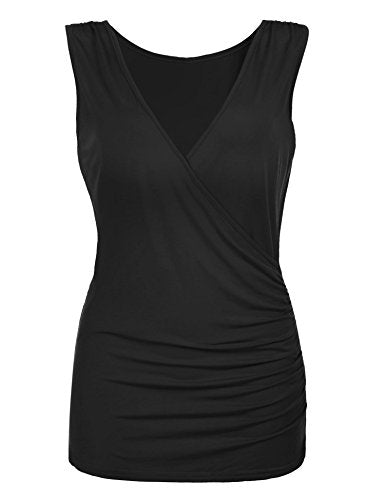 ELESOL Women's Sexy Deep V Neck Ruched Side Stretch Slim Sleeveless Tank Top