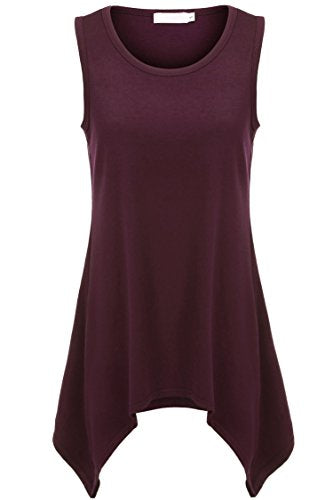 ELESOL Women's Round Neck Sleeveless Solid Basic Tunic Tank Top with Flared Hem