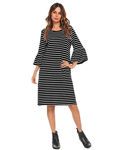 ELESOL Women 3/4 Bell Sleeve Casual Striped Loose T-Shirt Dress
