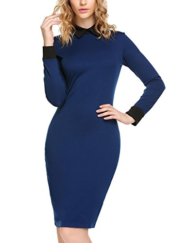 ELESOL Long Sleeve Peter Pan Collar Stretchy Pencil Midi Dress