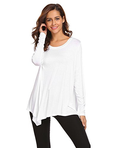 ELESOL Women's Long Sleeve Pullover Solid Swing Tunic T-Shirts