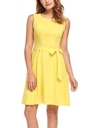 ELESOL Women Elegant Sleeveless Flare Fit Sundress Chiffon Party Dress,Yellow,S