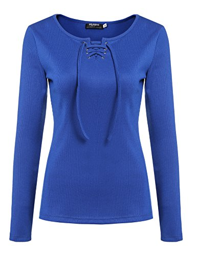 ELESOL Women Knitted Lace Up O-Neck Long Sleeve Plain Slim Fit Basic T-Shirt Tops