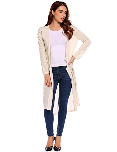 ELESOL Women Casual Long Sleeve Open Front Asymmetrical Long Cardigan