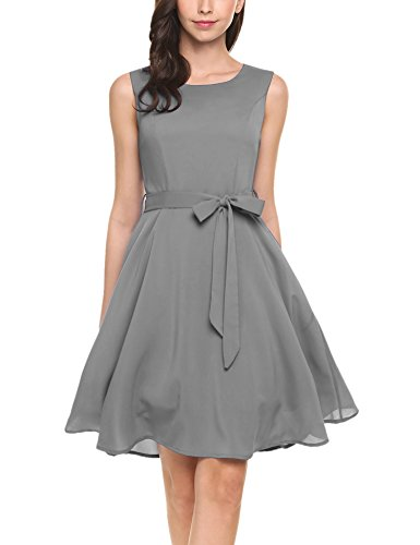 ELESOL Women's Boat Neck Sleeveless Cocktail Dress with Belt(Gray,S)