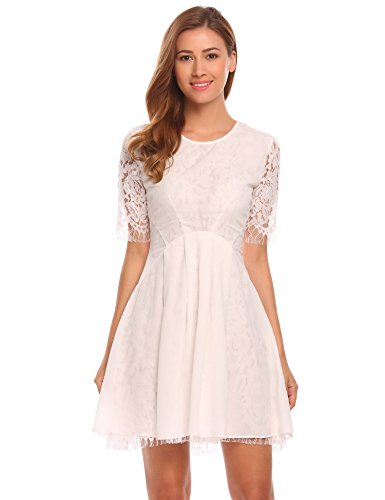 ELESOL Women's Vintage Floral Lace Elbow Sleeve Cocktail Evening Party Dress