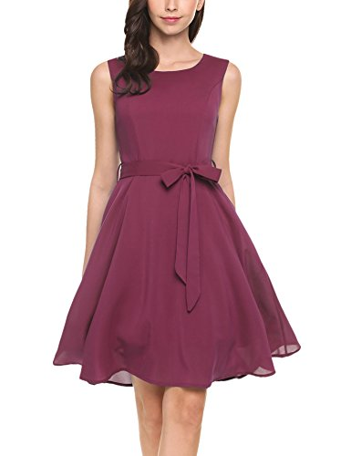 ELESOL Women Chiffon Sleeveless High Waist Belted Pleated Dress(Wine Red,L)