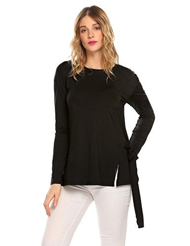 ELESOL Women's Long Sleeve Pullover Hem Split Lace Up Loose Tunic T-Shirt Tops