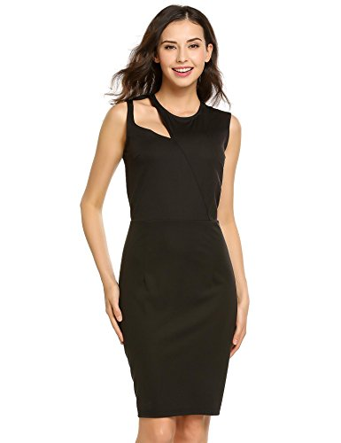 ELESOL Women's Sleeveless Hollow Out Cocktail Party Midi Pencil Bodycon Dress