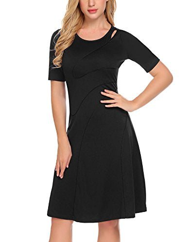 ELESOL Women's Short Sleeve Midi Dress Fit-and-Flare Party Dress