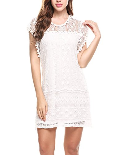 ELESOL Women Sheer Crew Neck Floral Lace Mini Party Cocktail Summer Dress