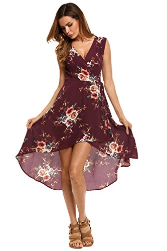 ELESOL Women's V-Neck Sleeveless A Line Dress Pleated Swing Dress with Belts,Dark Red,M