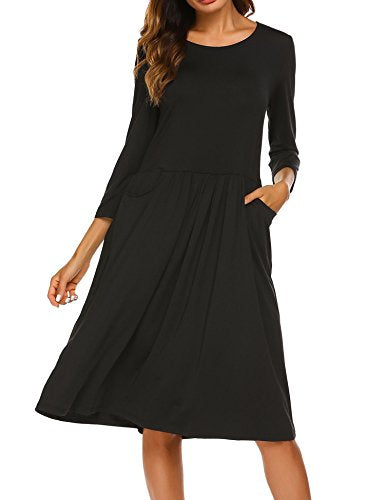 ELESOL Women 3/4 Sleeve Plain T Shirt Dress A Line Pleated Tunic Dress with Pockets