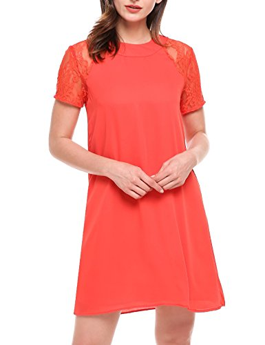 ELESOL Women Short Sleeve Keyhole Back Summer Casual Floral Lace Shift Dress Red XXL