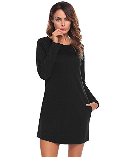 ELESOL Women's Pockets Casual Long Sleeve Loose Fit O-Neck T-Shirt Dresses