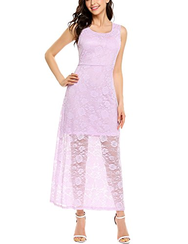 ELESOL Womens Elegant Maxi Lace Floral Party Wedding Evening Long Dress