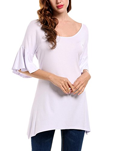 ELESOL Women's Casual Boat Neck Loose Fit Bell 3/4 Sleeves Tunic T-Shirts,White,M